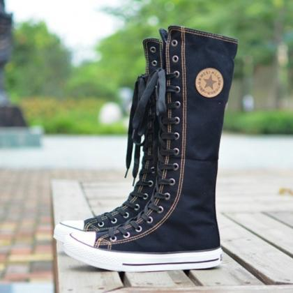 PUNK ROCK Canvas Boot Women Gril Sneaker Flat Tall Lace Up Knee ...