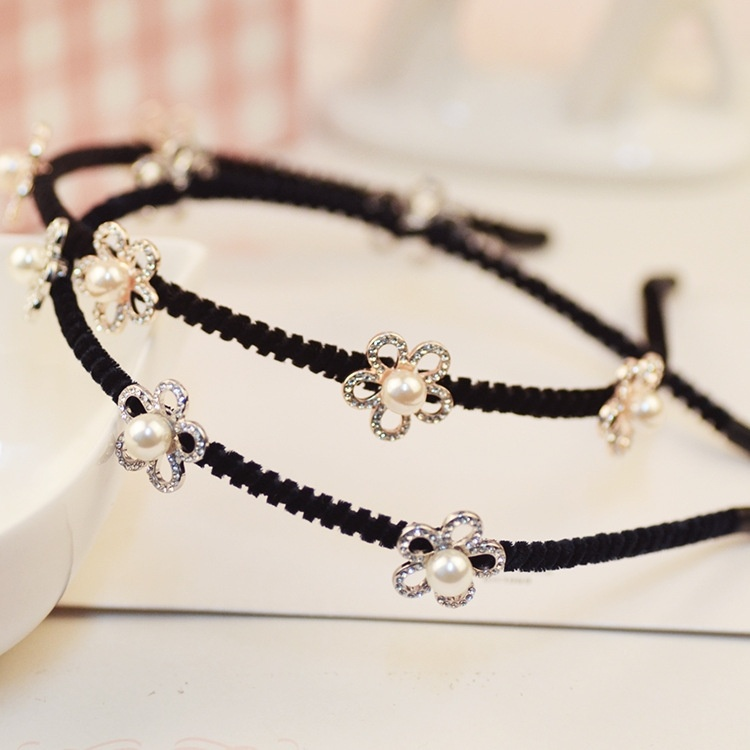 HJ small flowers new diamond fashion hand woven alloy hairband hairpin Korean jewelry