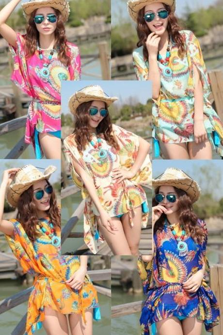2015 New Summer Beach Dress Floral Print Skirt With Belt Straps Bohemian Resort - RP