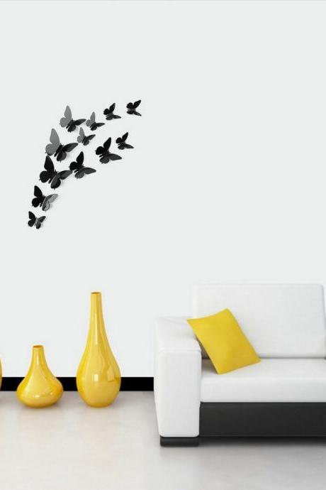 3D DIY Art Wall Stickers Butterfly Home Decor Room Decorations 12 pcs