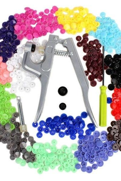 15 Colors 150/Set T5 Snap Poppers Plastic Resin Buttons Sewing Supplies Snap Pliers