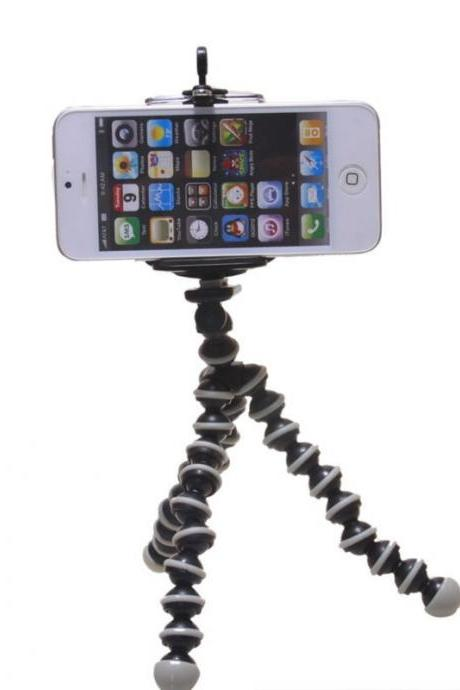 Hot 2 in 1 mini Octopus Tripod + phone Flip Holder (55-80)mm for Camera for iphone for Samung Mobile Phone (Color: Black & White)