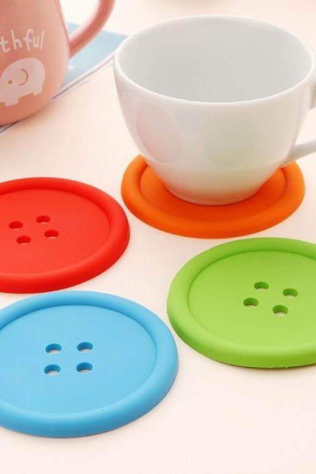 3 pcs Creative fashion personalized coffee coasters tea insulation mat multicolor buttons cup mats #lcmq
