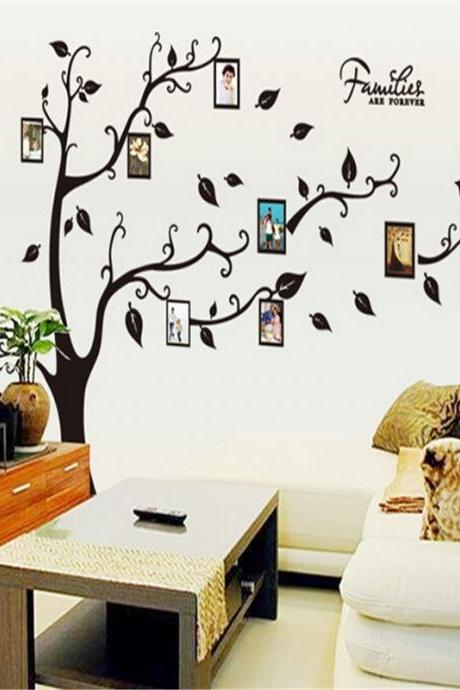1pcs black family tree decal removable photo tree wall stickers memory tree photo frame pegatinas-pared