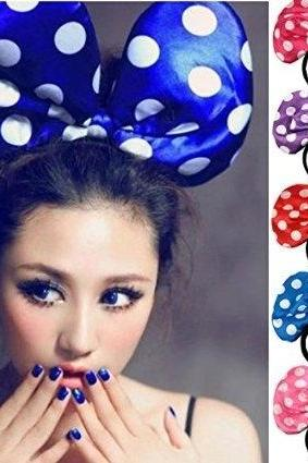 1Pc Random Color Super BIG Oversize Mouse Ears Ribbon Bows Polka Dots Bowknot Butterfly Knot Statement Headbands Hairband Hair Band Wedding Party Clubhouse Concert Costume Favors Adult Kid Hair Accessory Ornament Decoratio Headwear Jewelry