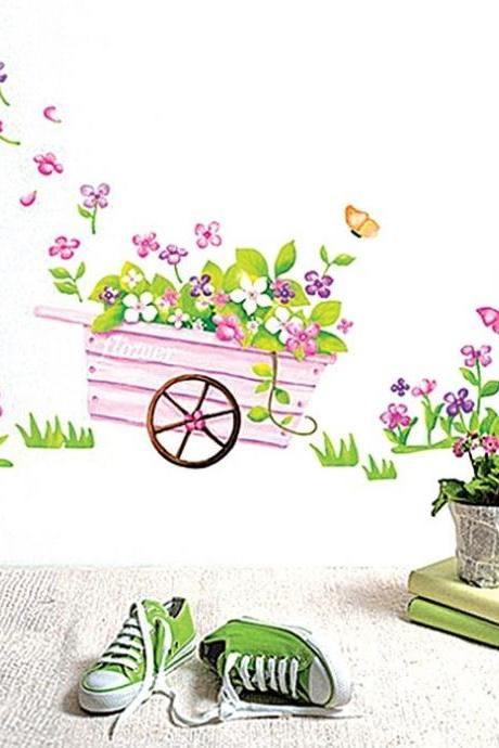 Fashion wall stickers Bicycle flower Bedroom Decorative Wall Stickers Home Decor Living kids girls Room Vinyl Wall Art Decals Wallpapers Poster On Wall pink butterfly Wallpaper size 50cm x70cm(L*W)