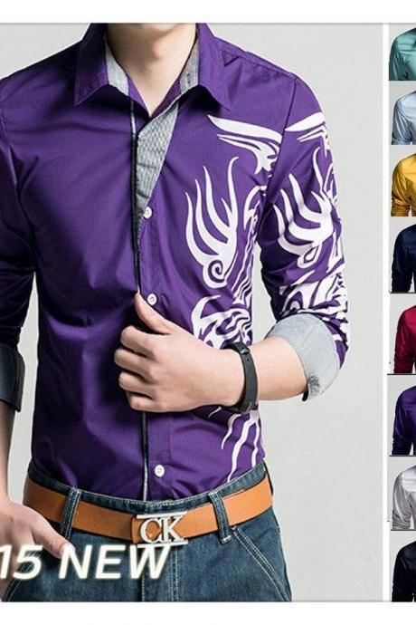 Hot Sell 2015 New Long Sleeve Men Shirt Men Dot Slim Fitness Lapel Shirts Male Cotton Camisa Chemise Homme Button Shirt