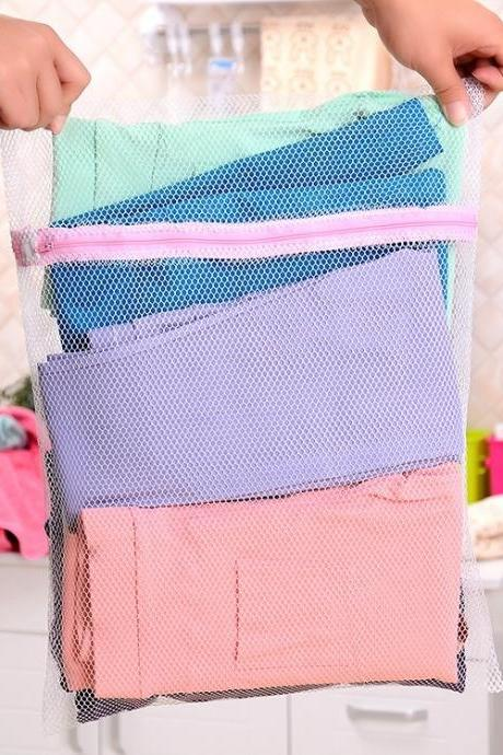 1Pc 40x50cm Zipped Hollow Laundry Washing Wash Bag Underwear Hosiery Tights Wool Stockings Washing Wash Storage Bags Net Mesh Socks Bra Clothes Saver Protect Protective Machine Zipper Suitcase Basket Portable