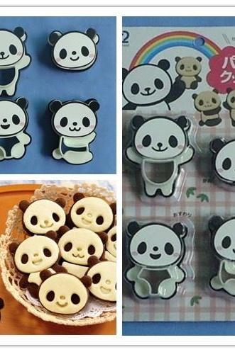 New Cartoon Panda Cake Cookie Cutter Candy Kitchen Decorating Mold Mould Tools , panda cookie mould cartoon creative DIY pastry suit (Color: Black)