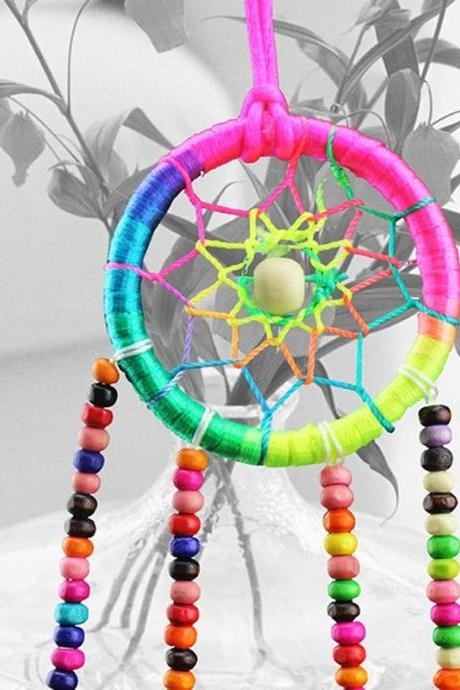 Handmade Multicolor Dream Catcher with feathers car or wall hanging decoration ornament New Gift (Color: Multicolor)