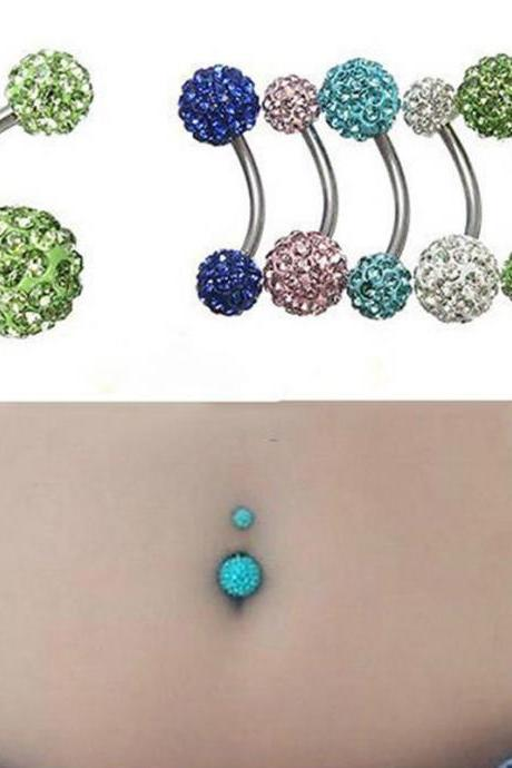 2pcs Navel Belly Button Ring Barbell Rhinestone Crystal Ball Piercing Body Jewelry (Color at random)
