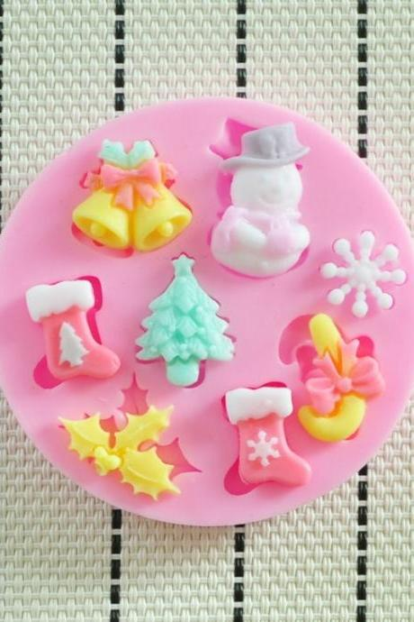 2014 NEW beautiful Christmas silicone mold,Fondant Cake Decorating Tools,forma de silicone,Silicone Cake Mold (Color: Multicolor)