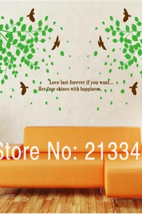 Mall - green country style bird trees bedroom living room stickers home decor wall stickers mural art wall (Color: Green)
