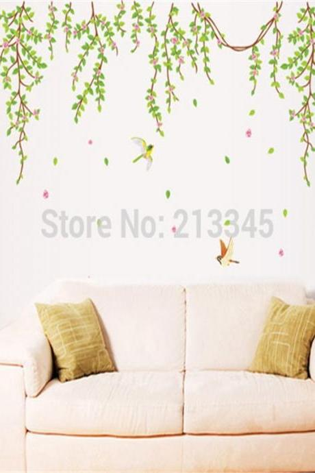 2015 new product fresh and cool green vine leaves living room bedroom home wall decor wall sticker decal