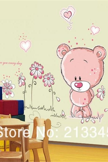 new upgrade pvc material blankly Bear cartoon wall stickers home decor animal decals childrens bedroom