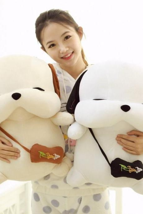 1 PCS White and Light Yellow Cute Lovely Korean Dog Plush Toys Brinquedos Pillow Bolster Gift christmas gift