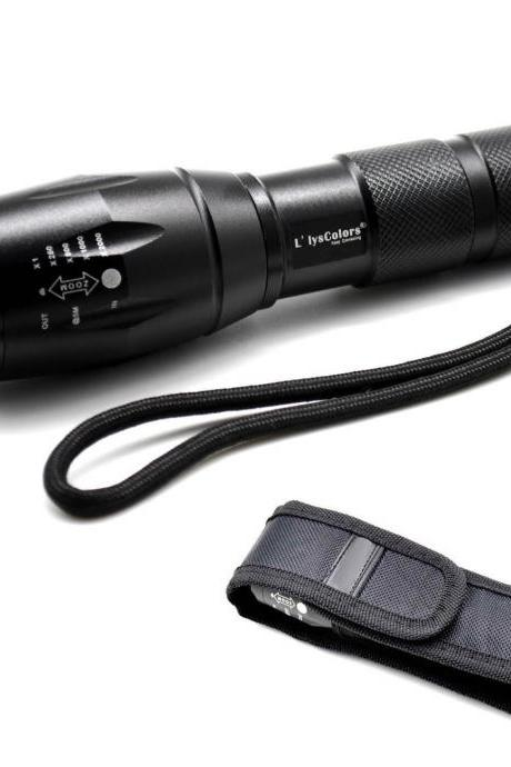 LlysColors CREE XML-T6 5-Mode 900LM Zoomable LED Torch Incl. 18650 rechargeable battery and a Holster for torch
