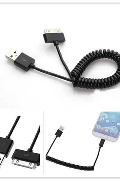New Black Coil Spiral USB Data Charger Cable Cord For iPhone4/4S iPod iPad2/3