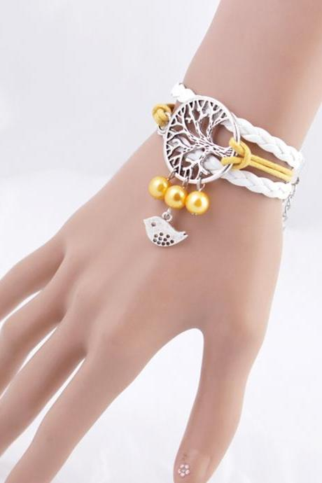 Fashion Jewelry Leather Double Infinite Multilayer Braided Tree of Bird Life Bracelet (Size: One Size, Color: White)