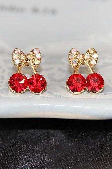 South Korea jewelry fashion delicate and lovely red drill small Cherry Earrings elegant lady Earring