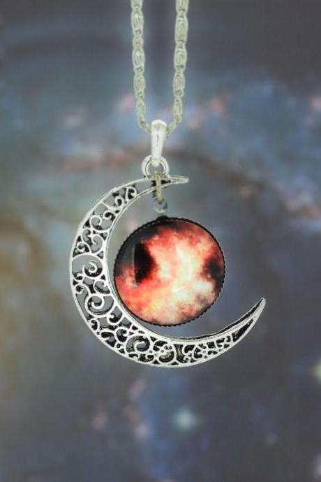 Vintage Galaxy glass half moon Necklace Galactic Universe Pendant Necklace Women's Beautiful Necklace (Color: Silver)