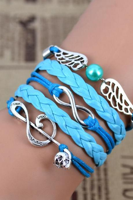 Fashion Jewelry Leather Double Infinite Multilayer Braided Bracelet (Color: Blue)
