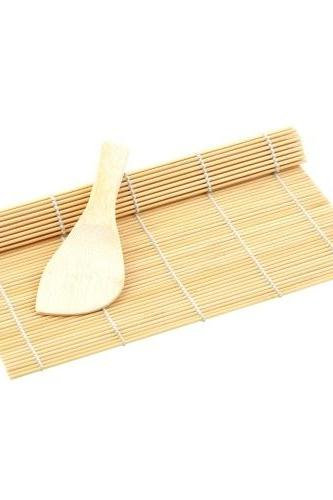 Sushi Rolling Maker Bamboo Material Roller DIY Mat and A Rice Paddle