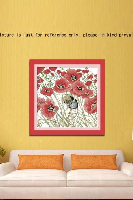 New Handmade Needlework Counted Cross Stitch Set Embroidery Kit 14CT Poppies and Mouse Pattern Cross-Stitching 35 * 35cm Home Decoration Fashion Accessories