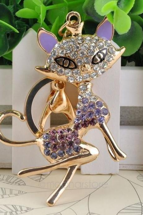 Unique Novelty Rhinestone Crown Fox Keychain Keyring Fashion Crystal Animal Key Chains Rings Holder Gift Jewelry M*MPJ530#M1
