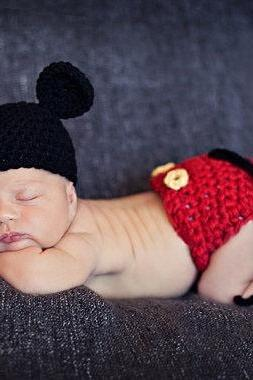 Handmade Infant Hat Newborn Baby Girl Crochet Beanie Toddler Knitted Cartoon Cute Mickey Mouse Bow Props Photography Costume Set (Size: 0-6m)