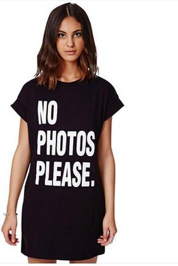 Black Graphic Shirt Dress Featuring No Photos Please Slogan