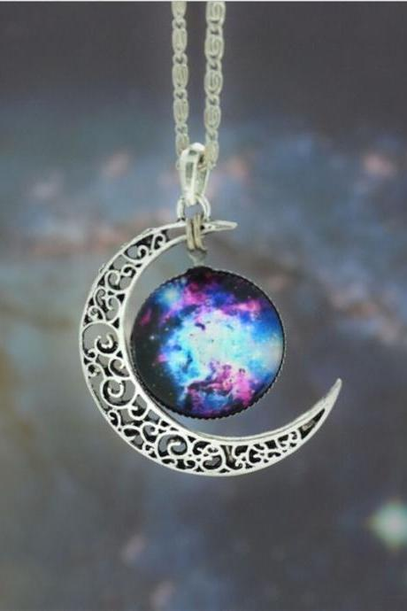 2015 Fashion Women Nebula Galaxy Cabochon Necklace Charm Moon necklace, Galactic Cosmic Statement Necklace (Size 19; Color Silver)