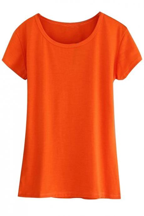 Summer Popular Women's Orange Color Slim Short T-shirt Modal Cotton T-Shirts Top (Color:Orange) (Size M; Color Orange)