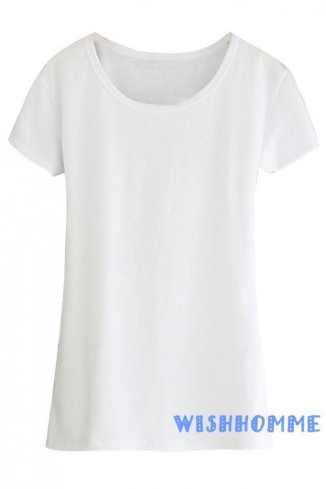 Summer Cotton Candy-Colored Short-Sleeved Women O-neck Bottoming Shirts (Color:White) (Size M; Color White)
