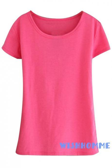 Cotton Korean Style Women Round Neck Short Sleeve T-Shirt One Size (Color:Hot Pink) (Size M; Color Hot pink)