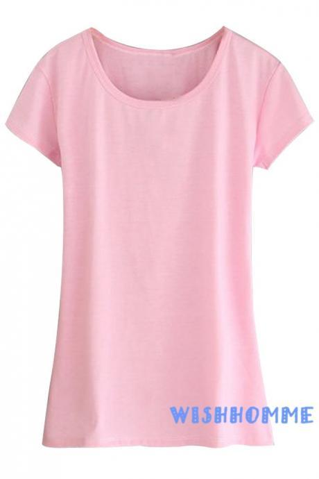 Summer Fashion Candy Colored Short-Sleeve T-Shirt Top (Color:Pink) (Size M; Color Pink)