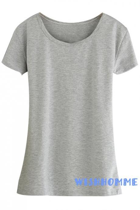New Women Fashion Fitness Summer Candy Color Short-sleeved Slim Wild U -neck Bottoming Shirt (Color:Gray)