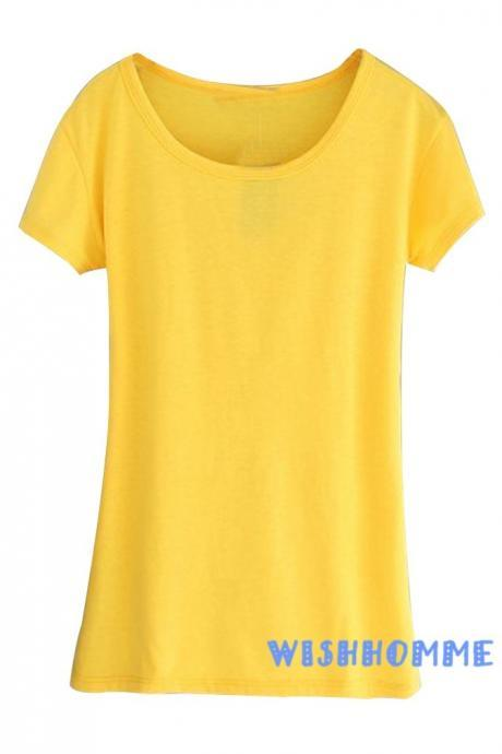 2015 Summer Women Korean Ladies Slim Casual T-shirts Top (Color:Yellow)