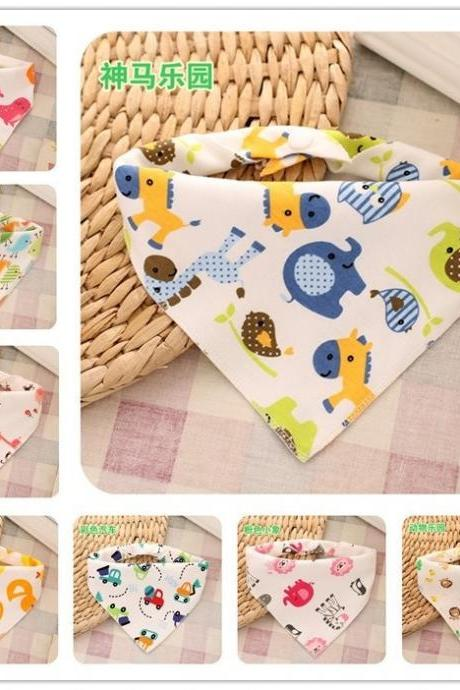 Baby's pure cotton knitted bibs Double-deck press button bibs