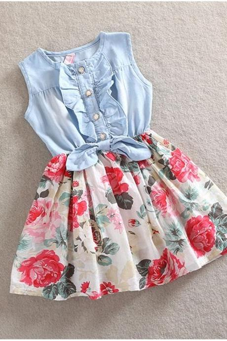 H&Q Summer Girls Sleeveless Jeans Floral Print Dress