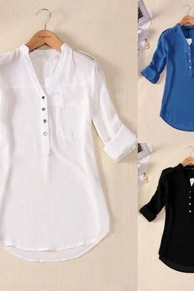 US Size S-4XL Women Spring Summer V-neck Chiffon Elegant All-match Solid Botton Casual Spirals Shirt Blouse