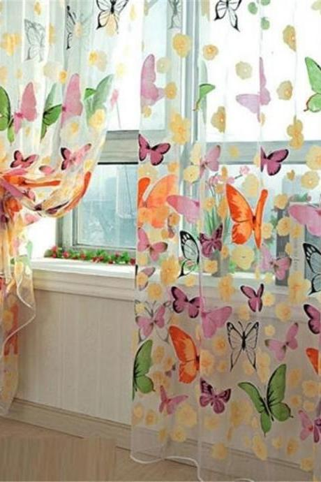 1pc Home decoration butterfly chiffon curtains (Size: 200 cm, Color: Multicolor)