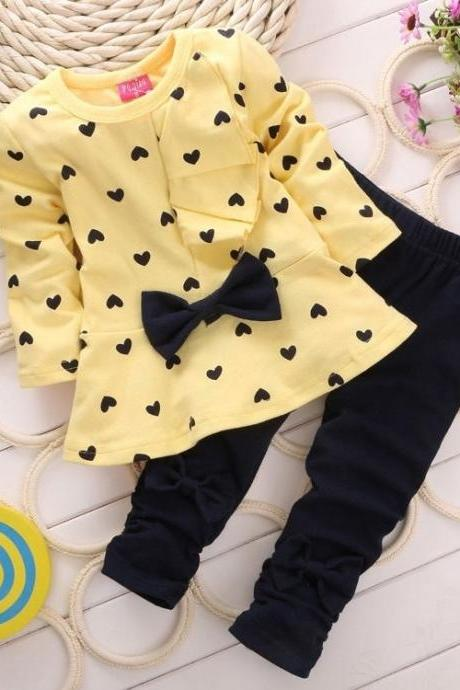 Kids Baby Girl Heart-shaped 2PCS Clothes Outfits Tops Sweater + Pants 2-5 Years
