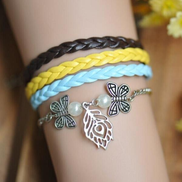 Leaf and Butterfly bracelet,with Pearl ,friendship bracelet,best gift, leather braid bracelet