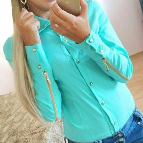 Best Selling Spring and Autumn women fashion blouse with zipper at sleeve shirt