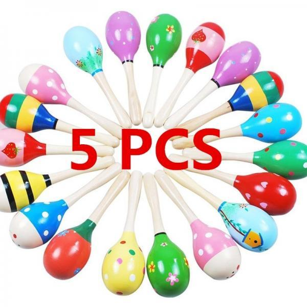 5 Pcs Wooden Ball Toy Sand Hammer Rattle Rhythm Musical Percussion Baby Kid